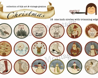 Christmas, 18 1 inch circles. Digital collage sheet