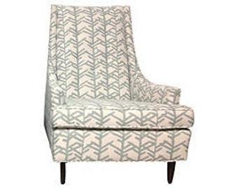 Mid Century Johnson Carper Occasional Chair Reupholstered in Erin Flett Indoor/Outdoor Fabric