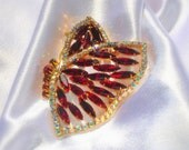 Vintage Red and Gold Butterfly Rhinestone Brooch