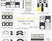 Wedding Shower Printable Party Package, Bridal Shower Decor, Damask and Dots, Black and White with Yellow - Editable, Instant Download