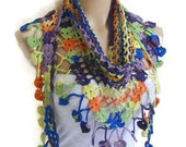 Crocheted Multi Color  Lace Scarf ,Holiday Accessories, winter trends, fashion, 2014 unique gift