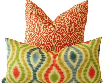 Ikat Pillow - Red Ikat Pillow - Blue Ikat Pillow - Decorative Pillow - Pillow Cover - Cushion - Lumbar Pillow - Throw Pillow - Pillow Covers