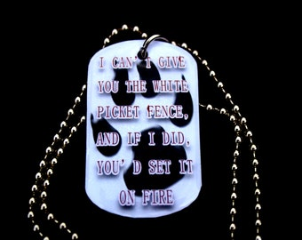 Book Quote Pendant - White Picket Fence - Dog Tag - Kate Daniels Series - Themed Necklace - Book Swag - Literary Jewellery