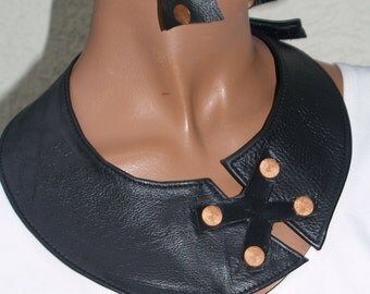 Black Leather Bib Necklace with Copper Accents- Ready to Ship!