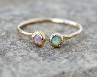 Gold Adjustable Opal Stacking ring ~ Gold Opal ring - Gold-filled Opal RING - Adjustable Gemstone Ring