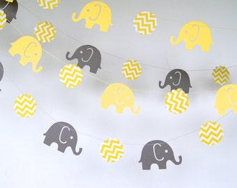 Elephants Paper Garland, Double-Sided, Bridal Shower, Baby Shower, Party Decorations, Birthday Decoration