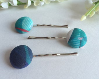 Fabric Button bobby pins Teal Hair Pins - made with buttons - set of 3