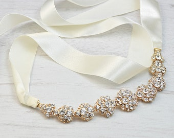 Handcrafted bridal headband ribbon. Gold crystals headband ribbon. Crystal headband ribbon. Bridal hair accessories. Wedding hair piece.
