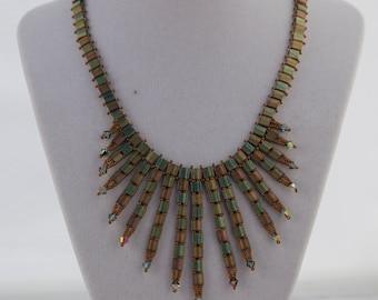 Bronze/green Tila fringe necklace with bicones