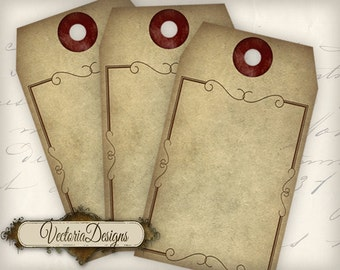 Blank Steampunk Tags - printable / add your own text - VD0572
