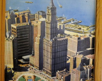 Original Rossignol Vintage French School double-sided poster New York and Nomades