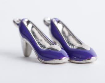 4 Silver and Purple Enamel HIGH HEELS SHOE Charm Pendants che0114