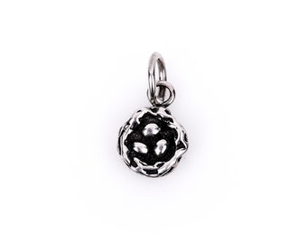 Small 3D BIRD NEST Sterling Silver Charm Pendant,  pms0171