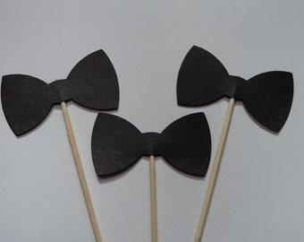 24 Black Bow Tie Cupcake Toppers - Food Picks - Party Picks - Bowtie - Bowties - Tuxedo - Wedding Toppers - Shower Toppers