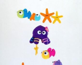 Sea Friends Mobile - PDF Crochet Pattern - Instant Download - Nursery Baby Shower Space Cuddy Stuff Plush