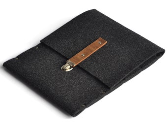 iPad Air Sleeve, Case, Clutch, Cover, Bag - black felt briefcase features clasp with leather strap