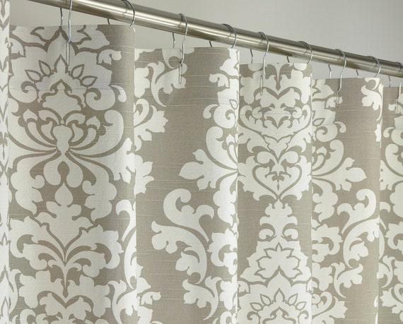 TAUPE DAMASK Shower Curtain 72 X 72 Taupe & White By PondLilly