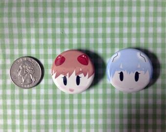 Asuka and Rei (Evangelion) Button Set