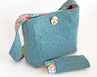 FELTED CABLED SWEATER Purse /Teal Blue-Green (Ooak) / Wool w Vintage Jade  Pin / from Upcycled Cabled Cardigan / Eco Friendly Gift #046