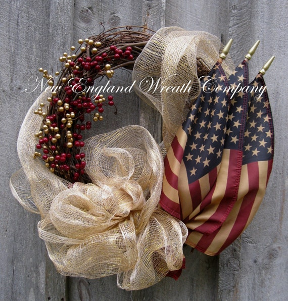 Americana Wreath Patriotic Fourth Of July By Newenglandwreath
