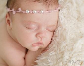 Newborn Halo, Simple Headband, Tieback Headband, Newborn Girl Prop, Newborn Photo Prop, Headband With Pearls, Newborn Halo,Newborn Baby Band