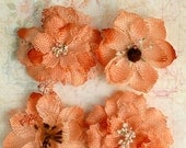 "Peach Burlap Flowers -Set of 4 fabric flowers 2"" Apricot blossoms 1200-204 headband flowers  rustic flowers wedding decorations scrapbooking"