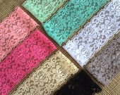 """Lace Elastic 2.5"""" Lace Stretch Elastic 6cm wide elastic trim You Pick colors baby headband lace elastic garter lingerie 3, 5, OR 10 yards"""