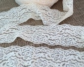 "Lace Elastic 2"" width - Ivory Lace Stretch Elastic - by the yard wide lace elastic trim - baby headband lace elastic wedding garter lingerie"