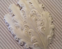Curly Feather Pad -  Ivory Cream   FP107 - (1 piece)