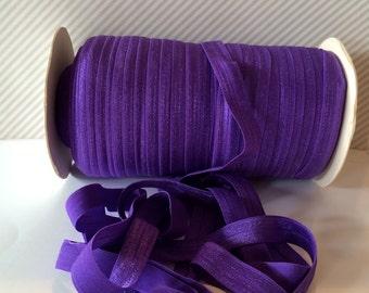 "Purple Fold Over Elastic - Regal Purple 470 Shiny FOE 5/8"" inch Baby Headbands Hair Ties Satin Elastic Soft stretch - 5 yards Elastic FOE"