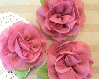 "Dark Mauve mini Camellia Flower with leaf (3 pcs) -  Small 2.5""  Fabric flower flower embellishment  headband flower applique accent flower"