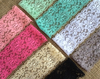 "Lace Elastic 2.5"" Lace Stretch Elastic 6cm wide elastic trim You Pick colors baby headband lace elastic garter lingerie 3, 5, OR 10 yards"
