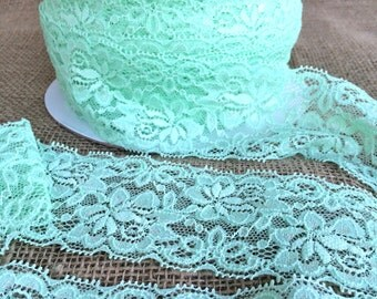 "Mint Green Lace Elastic 2.5"" Lace Stretch Elastic 6cm wide elastic trim - baby headband lace  garter lingerie  elasttic 3, 5, OR 10 yards"