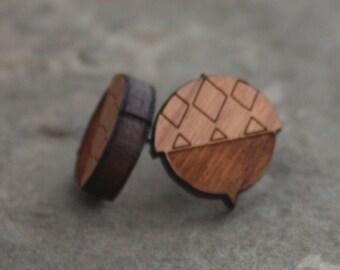 Acorn Studs - Acorn Post Earrings - Cherry Wood laser engraved acorn earrings, laser earrings, woodland earrings, fall earrings, autumn