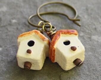 Earrings - Birdhouse Earrings - Handmade Peruvian Beads - Antiqued Brass earrings, ceramic earrings, bird earrings, peruvian earrings