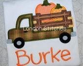 Boys Personalized Fall Pumpkin Truck Shirt Monogrammed Applique