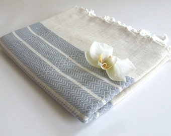 mother's day gift, Premium Turkish Towel, Peshtemal, Bath and Beauty, Bath and Body, Bride gift, Wedding, Natural Linen, spa, yoga, Gray