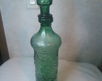 """Vintage Green Wine Decanter made in Italy grapes pears 19"""""""