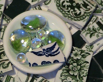 FREE SHIPPING 100 King Edwards Bird Bath Garden Mosaic Tiles Tesserae Handmade Cut Nipped Dinnerware Plates Dishes Flowered Mosaics