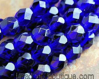 4mm Cobalt Blue Czech Glass Beads   - 50