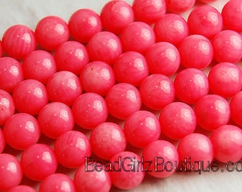 Coral Beads 6mm Round in Salmon   -15 inch strand