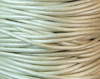 Metallic Pearl Leather 2mm Cord 3 Yards / 9 Feet / 2.74 Meters    lea001