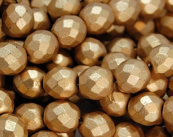 Matte Metallic Gold Czech Glass Matte 8mm Beads -25