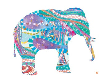 Elephant Daddy in Blue -  8.5 x 11 fine art giclee print - Perfect for baby boy nursery, kids wall art, baby shower gifts, father's day