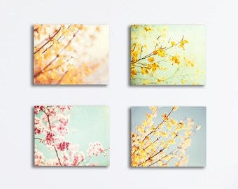 Floral Canvas Print Set - flower photography four pastel canvas gallery wraps yellow pale blue mint pink nature wall set branches botanical