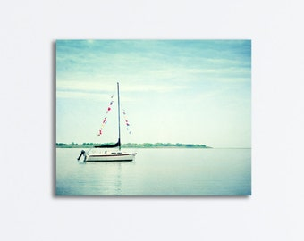 "Sailboat Canvas Art - large nautical wall art, light blue beach print, pale coastal photo gallery wrap, sailing picture - ""Next Voyage"""