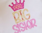 Instant Download . Big Sister with Princess Crown Applique Embroidery Design