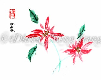 "Watercolor Chinese Brush Painting Card ""Poinsettias for You"""