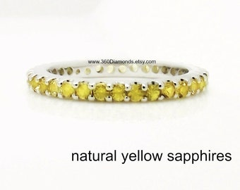 Yellow SapphireEternity ring in 14K white gold Engagement Stack Ring -  Customized Options Available