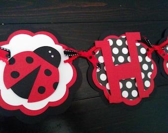 Ladybug Birthday Banner.  Red and black ladybug birthday decorations